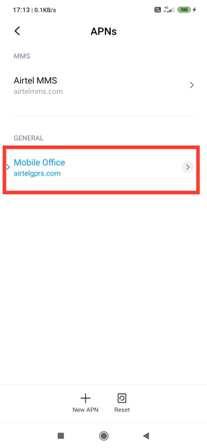 Mobile office option in APN setting