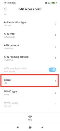 Bearer option in Edit Access Point