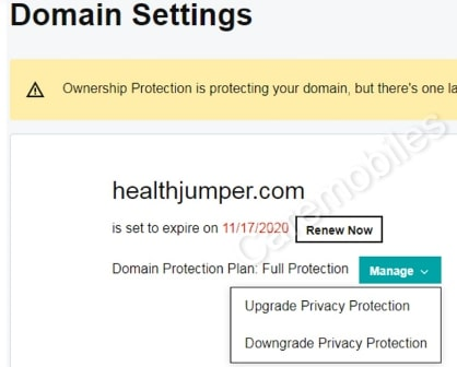 Downgrade privacy protection for Godaddy domain