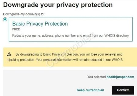 Confirm downgrade privacy protection